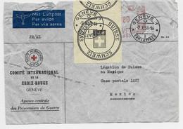 HELVETIA SUISSE LETTRE COVER ENTETE CROIX ROUGE GENEVE 1951 POUR MEXICO + ETIQUETTE SCHWEIZ + DETERIORE GENEVE - Covers & Documents