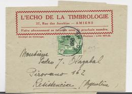 GANDON 5FR N°809 SEUL PETITE BANDE COMPLETE AMIENS 1.8.1950 POUR ARGENTINE AU TARIF - 1945-54 Marianna Di Gandon