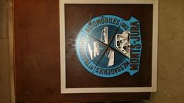 Plaque Publicitaire Sérigraphie En Verre Monts Jura Messagerie Transport Aviation Autocar Maritime Paquebot Besançon - Autres