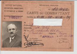 Carte Du Combattant 1934 - Documenti