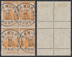 "Pellens - N°116 En Bloc De 4 Obl Simple Cercle ""Namur / Namen"" (1914). Guerre 14-18 - 1912 Pellens"