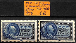 [836781]B/TB//*/Mh-c:46e-France (Ex Colonie) Maroc 1935 - PA40, 2 Nuances, Avions - Posta Aerea