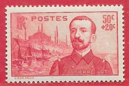 France N°353 Pierre Loti 50c + 20c Rose Carminé 1937 ** - Nuevos