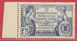 France N°357 1F75 Outremer 1937 ** - Nuevos