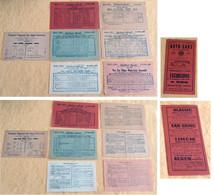 1938. Autocars Régionaux SANTA Nice – Alpes Maritimes – Côte D'Azur. Horaires  Et Tarifs: 7 Fiches + 1 Dépliant. - Europe