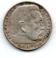 2 Reichsmark 1938 G Hindenburg TTB - 2 Reichsmark