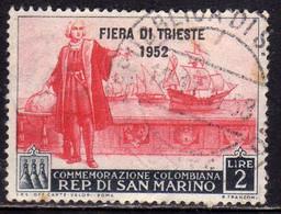 REPUBBLICA DI SAN MARINO 1952 FIERA DI TRIESTE FAIR LIRE 2 USATO USED OBLITERE' - Gebraucht