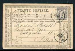 Carte Précurseur De Lagny Pour Paris En 1877 - Ref M19 - 1877-1920: Période Semi Moderne