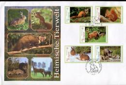 Germany FDC  - Fauna Hare, Squirrel, Wild Boar, Deer, Marten - Wild