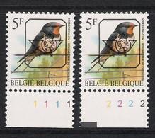 Buzin Nr PRE827**   Plaatnr 1 En 2  S2 Witte Gom - 1985-.. Vogels (Buzin)