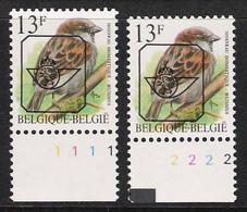 Buzin Nr PRE837**   Plaatnr 1 En 2  CPL Witte Gom - 1985-.. Vogels (Buzin)