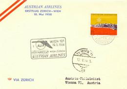 LIECHTENSTEIN 1958 Extrem Selt. Zuleitung Aus Vaduz Zum AUA-Erstflug ZÜRICH-WIEN - Air Post