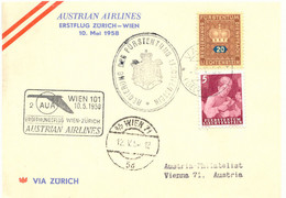 LIECHTENSTEIN 1958, Sehr Selt. Zuleitung Aus Vaduz Zum AUA-Erstflug Zürich-Wien - Air Post