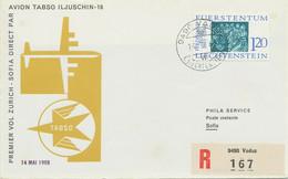 LIECHTENSTEIN 1966 Mitläuferpost Der TABSO Mit Iljuschin-18 ZÜRICH - SOFIA - Air Post