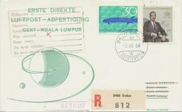 LIECHTENSTEIN 1966 Selt. Mitläuferpost Der SWISSAIR GENF - KUALA LUMPUR Malaysia - Air Post