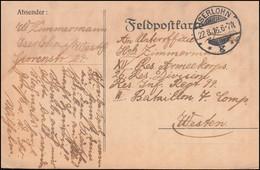 Feldpostkarte Aus ISERLOHN 22.8.1916 An Res.-Inf.-Regiment 99 II. Batl. 7. Komp. - Occupation 1914-18