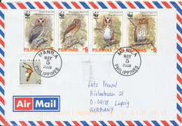 Philippines Air Mail Cover Sent To Germany 5-5-2008 Topic Stamps OWLS WWF - Covers & Documents