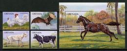 GRENADE 1986 N° 1353/1356 Bloc 157 ** Neufs MNH Superbes C 13 € Faune Animaux Coq Oiseau Vache Chèvre Cheval Horse - Grenada (1974-...)