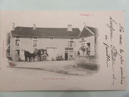 Carte Postale Ancienne ,vintage, Noir Et Blanc ,1904 Voiture A Cheval, Hotel Cafe De Gare Poulangy - Unclassified