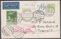 1930. DANMARK. Air Mail 10 øre  On 7 øre BREVKORT Print 95-H Cancelled  KØBENHAVN LUF... (Michel 143+) - JF416451 - Airmail