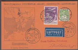1929. DANMARK. Air Mail 15 øre  + 7 øre On BREVKORT Cancelled  KØBENHAVN LUFTHAVN 31.... (Michel 144+) - JF416460 - Airmail