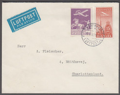 1939. DANMARK. Air Mail 15 øre  + 15 øre LUFTPOST Cancelled KØBENHAVN LUFTPOST 15.4.3... (Michel 144+) - JF416467 - Airmail