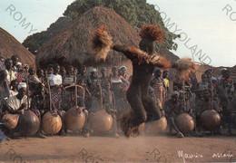 "CARTOLINA  REPUBLIQUE DE COTE D""IVOIRE,LE BOLOYE-DANSE SACREE SENOUFO,VILLAGE DE NATIO-KOBADARA,VIAGGIATA 1988 - Ivory Coast"