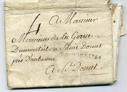 Lettre Du 15 Juillet 1764 De MOULINS à St-DOMET(CREUSE). Port Dû MOULINS1764 + Marque 4. Restes De Cachet De Cire Au Dos - 1701-1800: Precursori XVIII