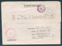 1942 Germany Kriegsgefangenenpost POW Camp Mail F.A. Denholm, Stalag 7A - St Kilda, Victoria Australia - Storia Postale