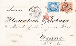 Ceres N°60 Type 1 Napoleon Lauré 31 Etoile Paris 4 Enghein Juin1872 Pour Vienne Autriche - 1849-1876: Klassik