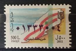MH0310 - Lebanon 2011 500L Rare Fiscal Revenue Stamp Mint Hinged, Map Of Lebanon - Lebanon