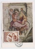 CARTE MAXIMUM CM Card USSR RUSSIA Art Painting Italy Michelangelo - Cartoline Maximum