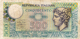 "ITALY 500 LIRE 1974 F P-94 ""free Shipping Via Regular Air Mail (buyer Risk) - 500 Lire"