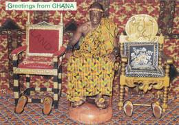 CARTOLINA  GREETINGS FROM GHANA,THE CHIEF AND HIS STOOLS,VIAGGIATA 1963 - Ghana - Gold Coast