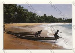 """CARTOLINA  REPUBLIQUE DE COTE D""""IVOIRE,BOUBELE,JEUNES PECHEURS SUR LA PLAGE DE TOHOLOU,VIAGGIATA 1989 - Ivory Coast"""