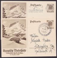 """Mi-Nr. P257, """"Olympische Winterspiele 1936"""", 2 Karten, Versch. Sst """"Garmisch- Partenkirchen"""" - Postwaardestukken"""