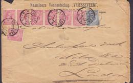 Netherlands NAAMLOOZE VENNOOTSCHAP 'VRIESSEVEEM' AMSTERDAM 1898 Cover Brief LONDON England Incl. 4-Stripe & Pair - Brieven En Documenten