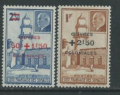 Cote Des Somalis N° 251 / 52  X :  Timbres De 1941 Surchargés Oeuvres Sociales, La Paire Trace De Charnière, TB - Ungebraucht