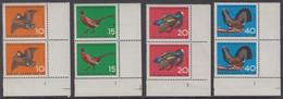 !a! BERLIN 1965 Mi. 250-253 MNH SET Of 4 Vert.PAIRS From Lower Right Corners W/ Formnumbers -Huntable Game Birds - Ongebruikt