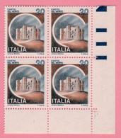 1980 ITALIA Serie Castelli D'Italia Castel Del Monte Lire 20 Quartina - Nuovo MNH - 1971-80: Nieuw/plakker