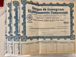 Sté Des Forges De Gueugnon  Établissements  Campionnet------ Lot  De 3 Certificats  Vierges - Industrie