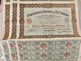 ÉTABLISSEMENTS  L. BESSON  De L' EST-AFRICAIN -------Lot De 3 Actions De 500 Frs - Industry