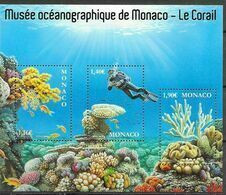 MONACO, 2020, MNH, MARINE LIFE, FISH, CORALS, OCEANOGRAPHIC MUSEUM OF MONACO, SHEETLET - Marine Life