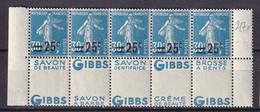 FRANCE - 25 C. Sur 30 C. Camée En Bande De 5 Neuve Avec Double Pub Gibbs  TB - Abarten: 1921-30 Ungebraucht