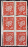 FRANCE -70 C. Pétain En Bloc De 6 Dont Un Timbre Avec Cédille à C TB - Abarten: 1941-44 Ungebraucht