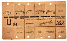 Compagnie Métropolitain Paris Carte Hebdo Station 324 - Altri