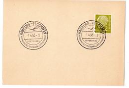 Deutsche Bundespost HAMBURG - FLUGHAFEN Lufthansa 1955 - Briefe U. Dokumente