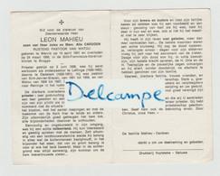 DOODSPRENTJE MAHIEU LEON ZOON VAN JULES EN CARDOEN ALIX WERVIK - BRUGGE RUSTEND PASTOOR WATOU - OLEFFINGE - OEDELEM - Devotion Images