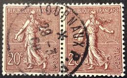 131 ° 1 Journaux PP Paire Semeuse 20 C Brun Lilas 29/3/1908 Oblitéré - 1877-1920: Semi-Moderne