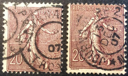 131 ° 2 Journaux PP Troyes + Nantes ? Semeuse 20 C Brun Lilas 1907 Oblitéré - 1877-1920: Semi-Moderne
